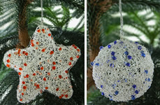 Christmas tree ornaments, crafted in India.