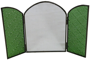 Green patterned glass mirror from India.