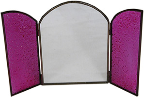 Magenta Pink patterned glass mirror from India.