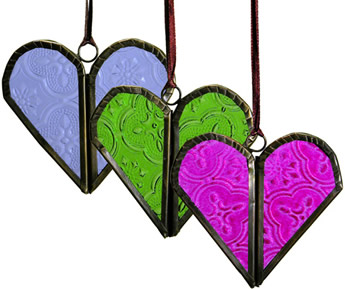 Recycled glass heart Christmas tree ornament from India - shown in 3 colors.