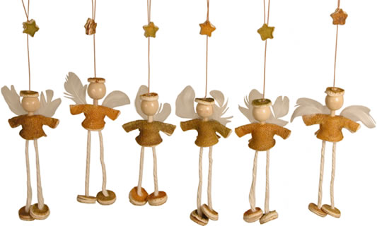 Orange Peel angels - hanging Christmas Ornaments for your Christmas tree.