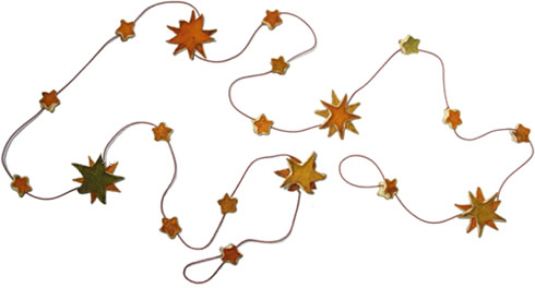 Orange peel  star Christmas garland.
