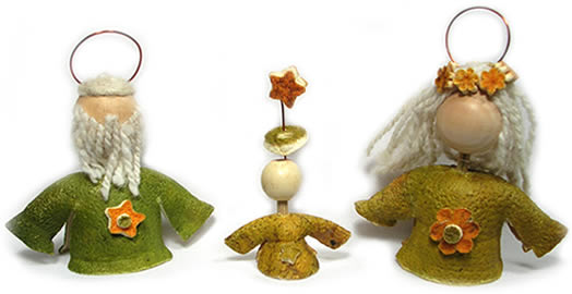 Orange Peel Nativity Set - 3 pieces.
