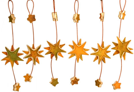 Orange Peel Stars - hanging Christmas Ornaments for your Christmas tree.