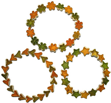 3 smaller orange peel wreathes made of flowers, stars and hearts.