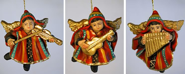 Andean dressed angel musician ceramic ornaments from Ayacucho Peru.