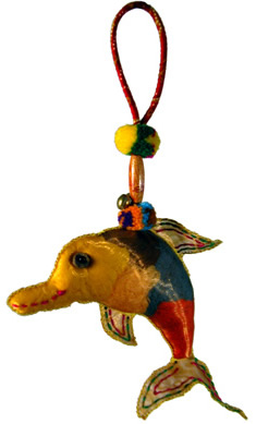 Dolphin cloth Christmas ornament from Thailand.