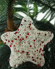 Red beads with white wire star Christmas Ornament from India.