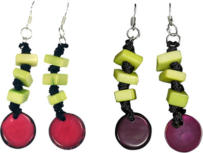 colorful fair trade tagua nut earrings from Colombia.
