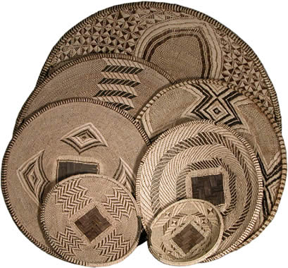Plateau baskets woven in Zambia, Africa.