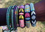 Recycled plastic bracelets from Burkina Faso, Africa.