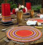 Samburu Kenyan beaded table settings.