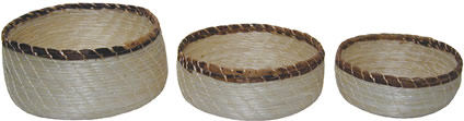Sisal basket with banana leaf rim from Haiti.