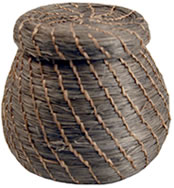 Brown Mini Sisal Basket with Top and Gold Thread from Haiti.