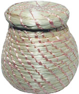 Natural Mini Sisal Basket with Top with Pink Thread from Haiti.