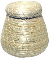 Natural Mini Sisal Basket with Top with White Thread from Haiti.