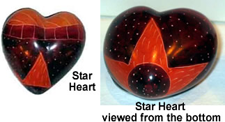 Soapstone Star Hearts - 2 views - from Kenya.