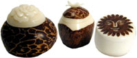 tagua nut boxes handcarved in many designs.