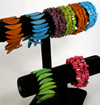 dyed tagua nut bracelets, necklaces and earrings from Colombia.