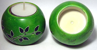 Kenyan soapstone ball shaped tea light candle holder - from Africa.