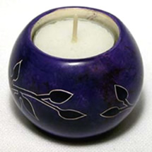 New purple soapstone round ball tealight from Kenya, Africa.