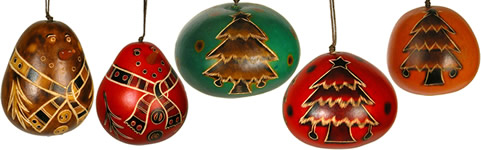 Gourd Christmas ornaments - trees and snowmen - are back in stock.