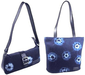 New Indigo and recycled tire shoulder purses from El Salvador.