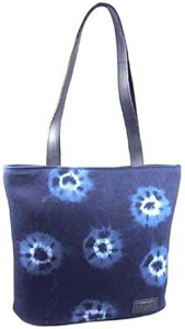 Recycled tire and natural indigo tote bag from El Salvador.