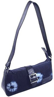 Recycled tire and natural indigo evening bag from El Salvador.