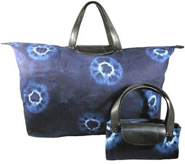Recycled tire and natural indigo shoulder bag from El Salvador.