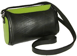 Recycled tire tubes and green recycled leather shoulder bag - from El Salvador.
