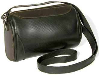 Recycled tire tubes and Recycled leather shoulder bag crafted in El Salvador.