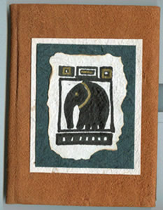 elephant design on bark cloth photo album cover - handmade in Uganda, Africa.