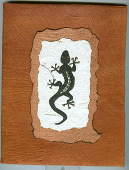 lizard design on bark cloth photo album cover - handmade in Uganda, Africa.