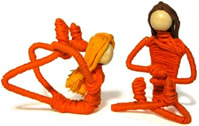 Colombian yoga figures and animals - cotton wrapped wire.